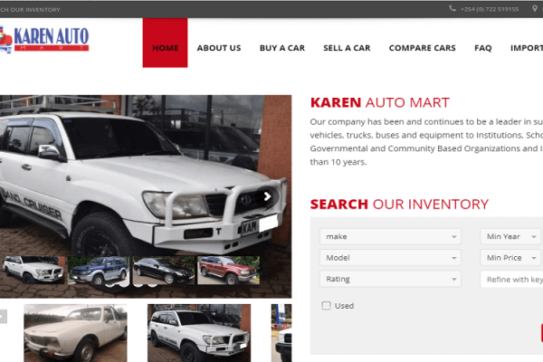 Car dealership web design Nairobi with Inventory Management